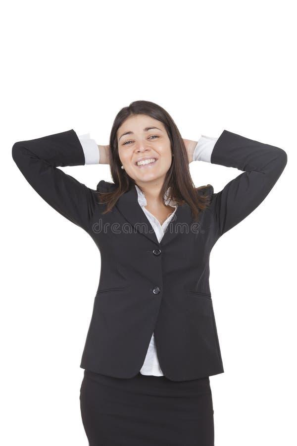 Affärskvinnan kopplar av royaltyfria foton