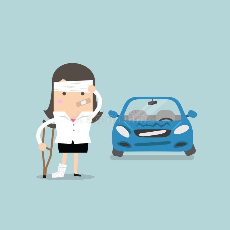 Affärskvinnan såras med bilolycka stock illustrationer