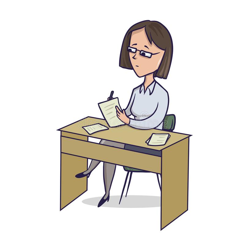 Affärskvinnan sitter vid tabellhandstilanmärkningarna Kvinnan gör anmärkningar på skrivbordet Illustration för vektor för tecknad stock illustrationer