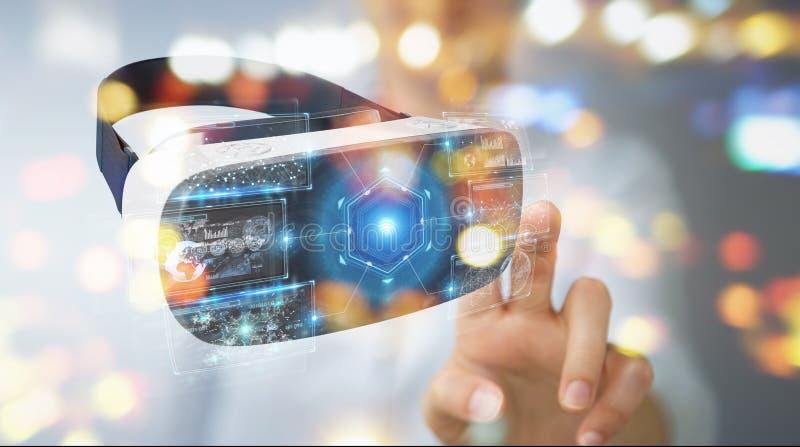 Affärskvinnan som använder virtuell verklighetexponeringsglasteknologi 3D, framför stock illustrationer