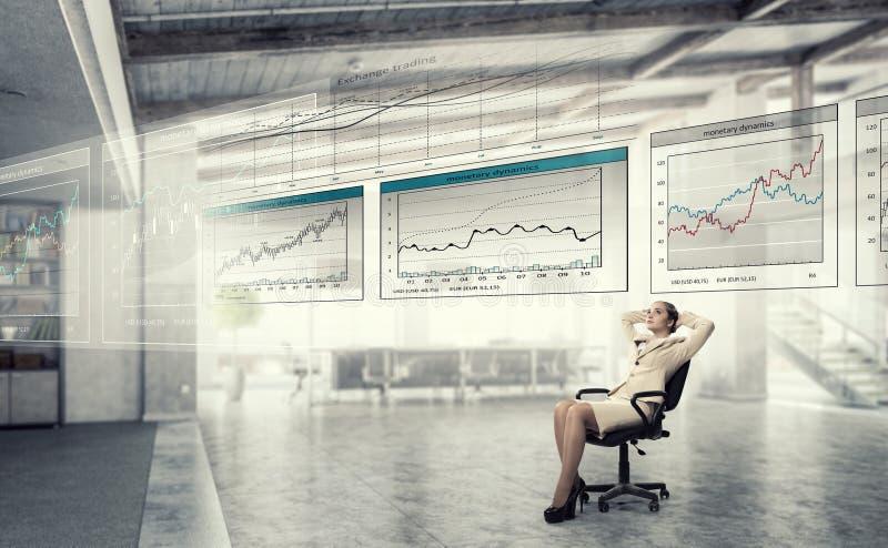 Affärskvinnan som den har, vilar i regeringsställning arkivfoton