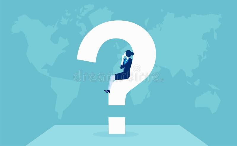 Affärskvinnan som har en fråga som in tänker, tvivlar stock illustrationer