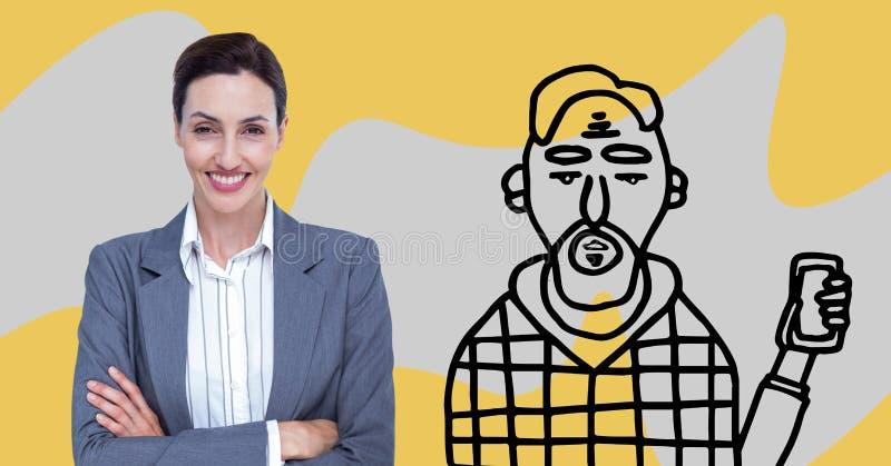 Affärskvinnan som står på med hennes armar, korsade mellan en teckning av den okammade personen royaltyfri illustrationer