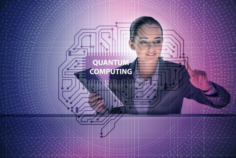 Affärskvinnan som trycker på den faktiska knappen i begrepp för kvantberäkning vektor illustrationer