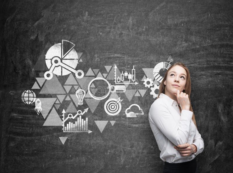 Affärskvinnan tänker om affärsoptimisationintrig Svart kritabräde som en vägg på bakgrunden royaltyfria bilder