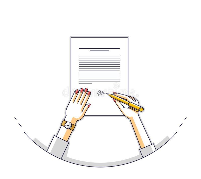 Affärskvinnan undertecknar det officiella pappers- dokumentet för avtalet med skyddsremsan, royaltyfri illustrationer