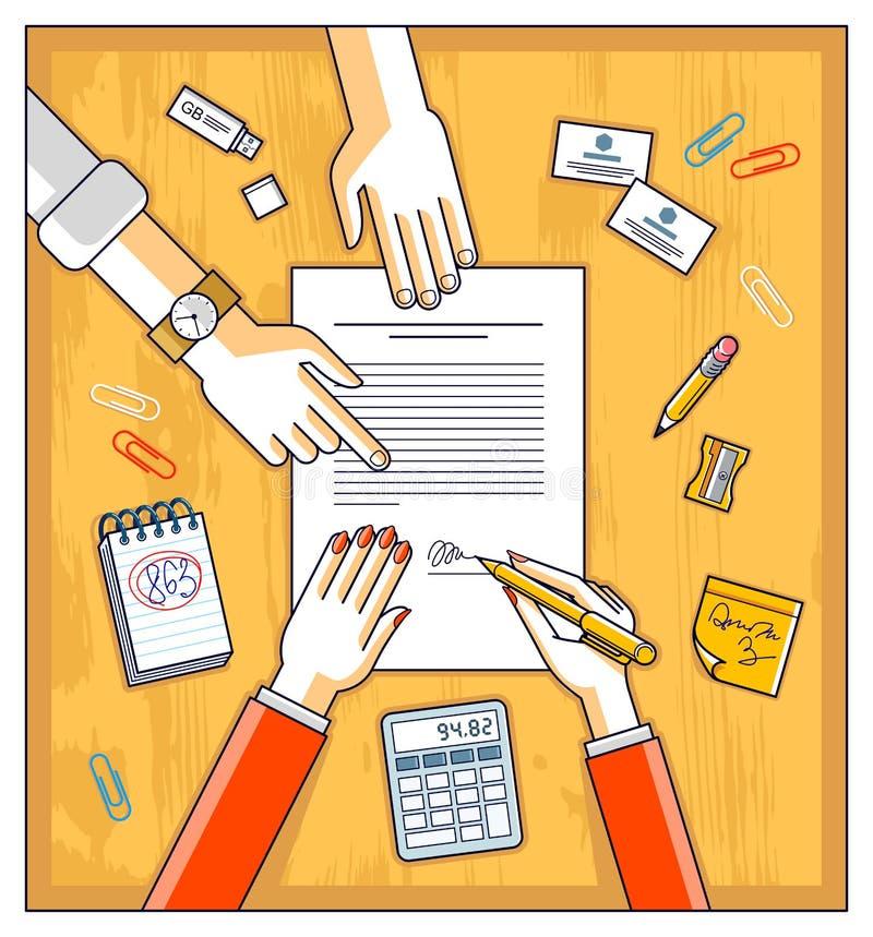 Affärskvinnan undertecknar det pappers- dokumentet för avtalet eller bankkundwr royaltyfri illustrationer