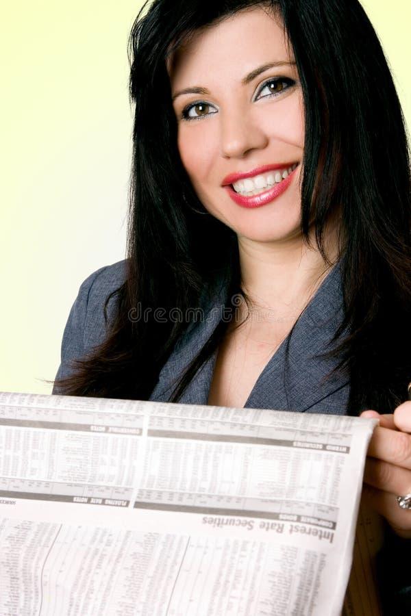 affärskvinnapapper royaltyfri bild