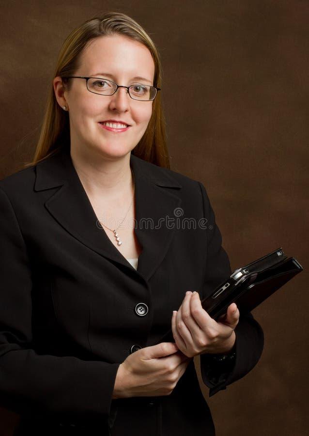 affärskvinnaPCtablet arkivfoto