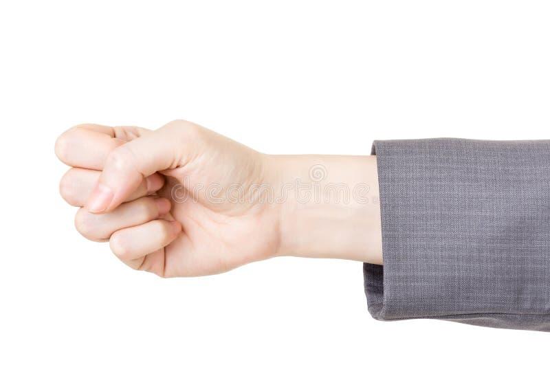 Affärskvinnas hand med nävegest arkivbilder