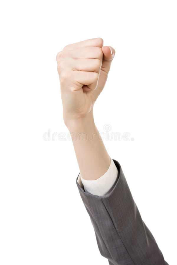 Affärskvinnas hand med nävegest royaltyfria foton