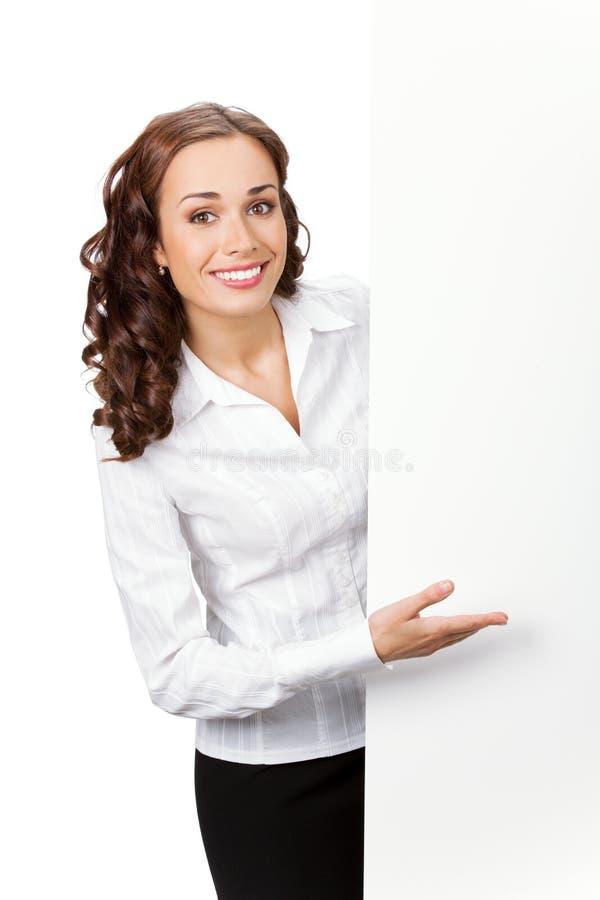 affärskvinnasignboardwhit royaltyfri bild
