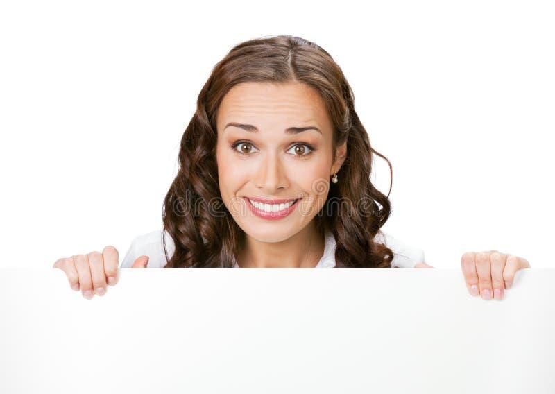 affärskvinnasignboardwhit arkivfoto