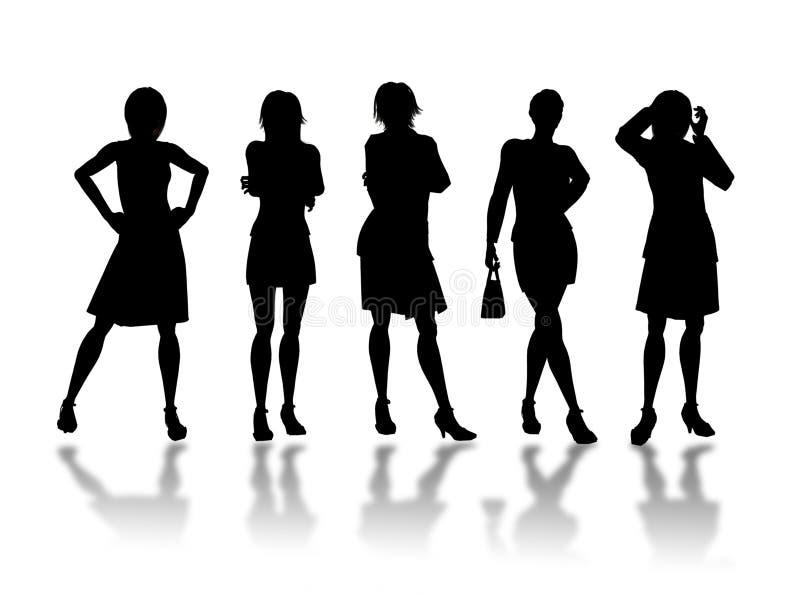 affärskvinnasilhouettes stock illustrationer