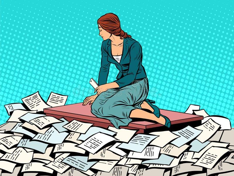 Affärskvinnasjöjungfru på vågrapporten royaltyfri illustrationer