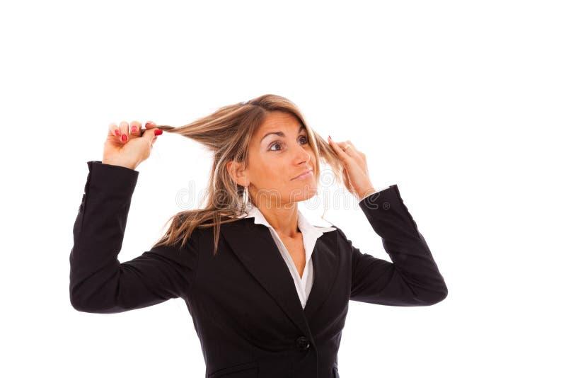 affärskvinnaspänning arkivfoto