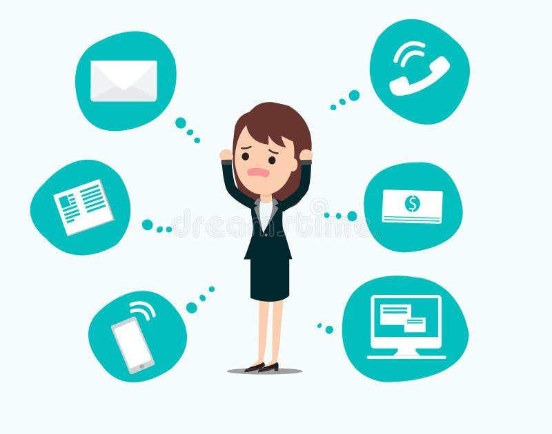 Affärskvinnaspänningstryck, mentala frågor för affär, begrepp vektor illustrationer