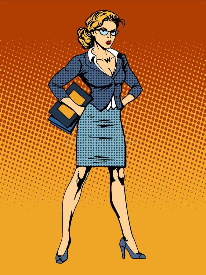 Affärskvinnasuperherokvinnan spela vamp vektor illustrationer