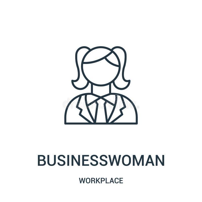 affärskvinnasymbolsvektor från arbetsplatssamling Tunn linje illustration för vektor för affärskvinnaöversiktssymbol royaltyfri illustrationer