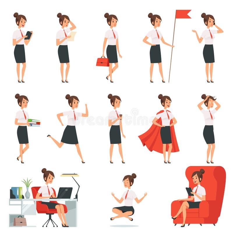 Affärskvinnatecken Affärsdamer i olik handling poserar stock illustrationer