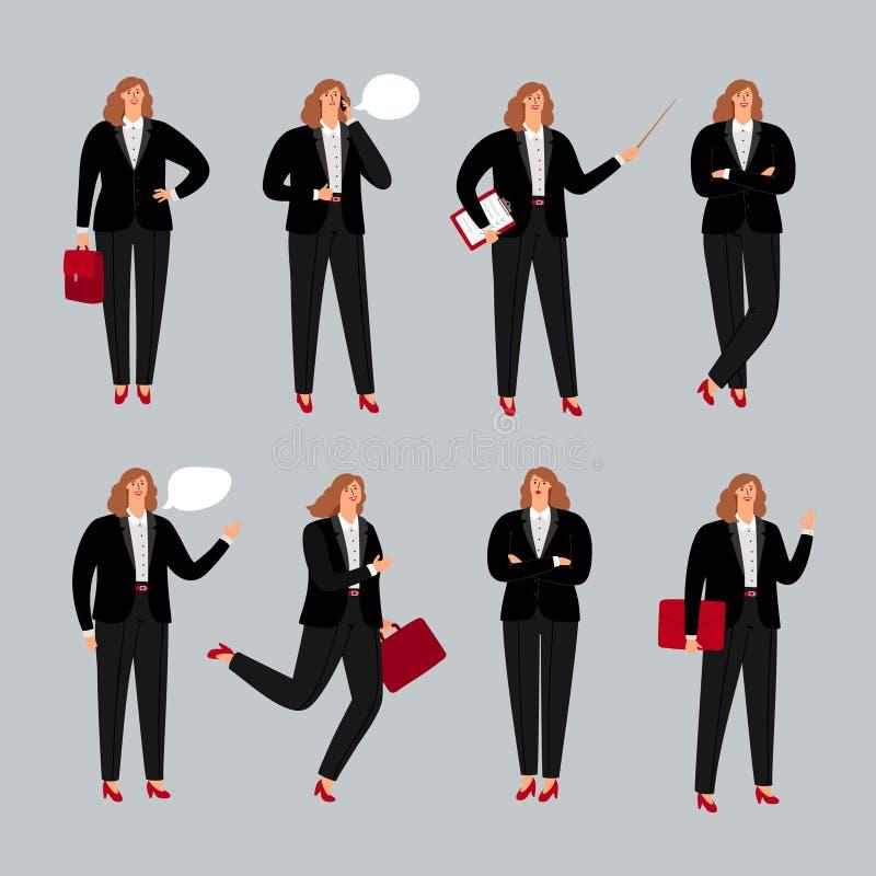 Affärskvinnatecken Ung kvinnlig yrkesmässig vektorillustration, anseende för affärskvinna som stannar till telefonen och royaltyfri illustrationer