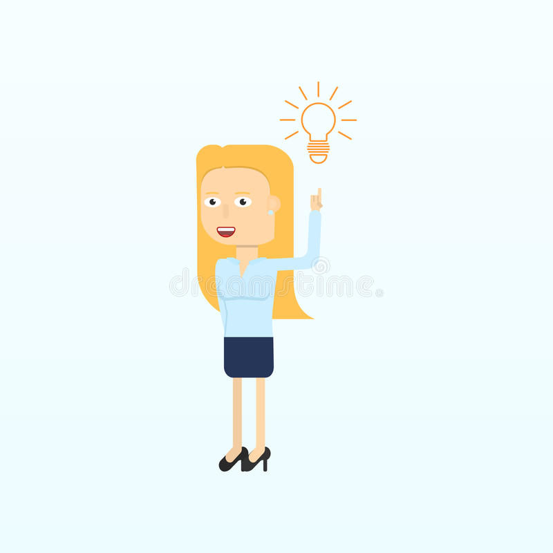 Affärskvinnateckenen som ler och pekar till kulan stock illustrationer
