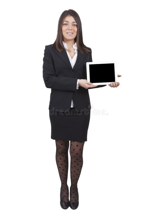 Affärskvinnavisningminnestavla royaltyfri bild