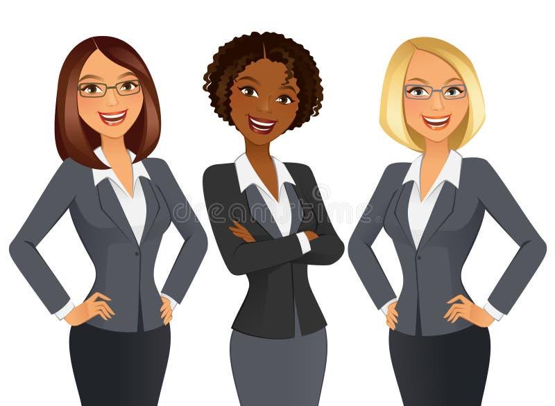Affärskvinnor… och ditt fingrar är upp stock illustrationer