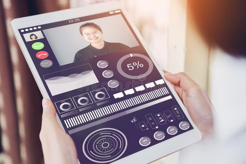 Affärskvinnor använder en minnestavlaskärm med videopp lag för en appell Att kalla för video är en teknologi det fotografering för bildbyråer