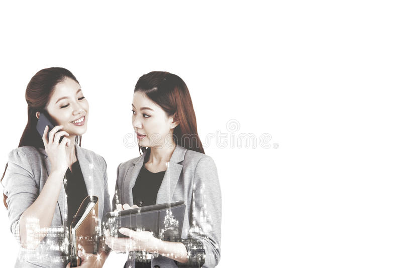 Affärskvinnor för dubbel exponering två royaltyfria bilder