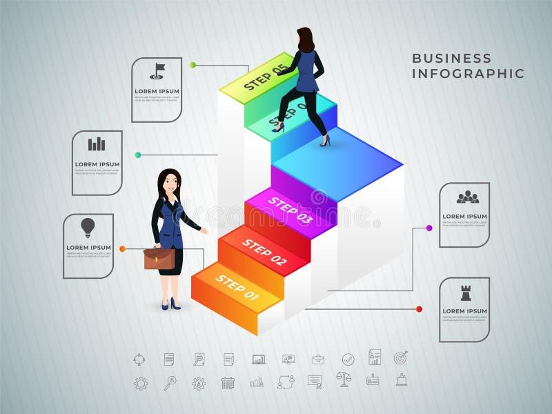 Affärskvinnor i affärsdräkter klättrar upp kolonner 3D Lyckade utförandefunktioner som tilldelas till anställda royaltyfri illustrationer