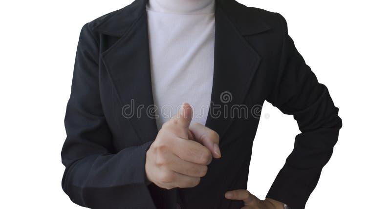 Affärskvinnor pekade fingret till kameran royaltyfri bild