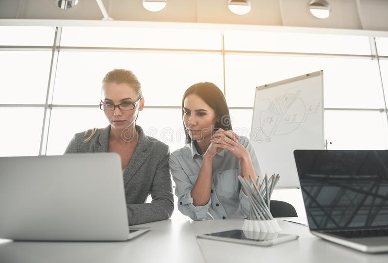 Affärskvinnor som koncentreras på modern teknologi royaltyfria foton