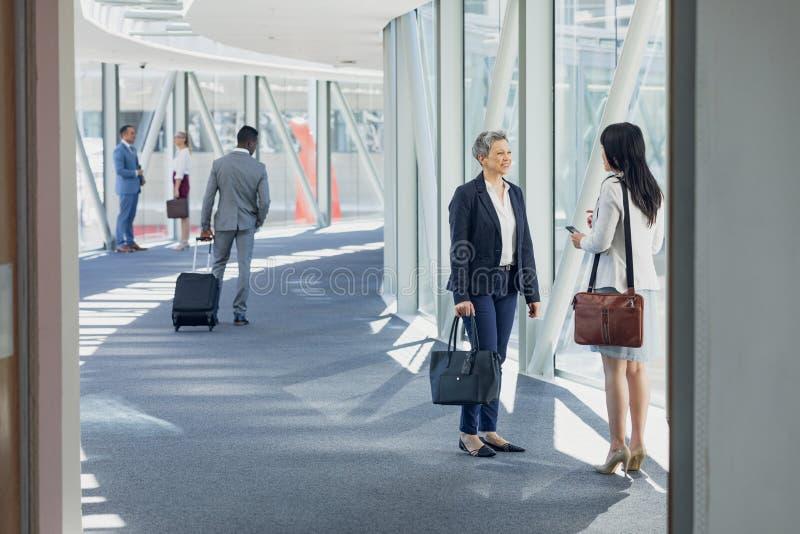 Affärskvinnor som påverkar varandra med de i korridor arkivbild