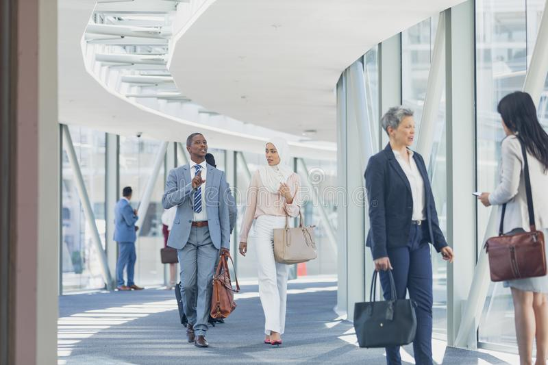 Affärskvinnor som påverkar varandra med de i korridor royaltyfri bild