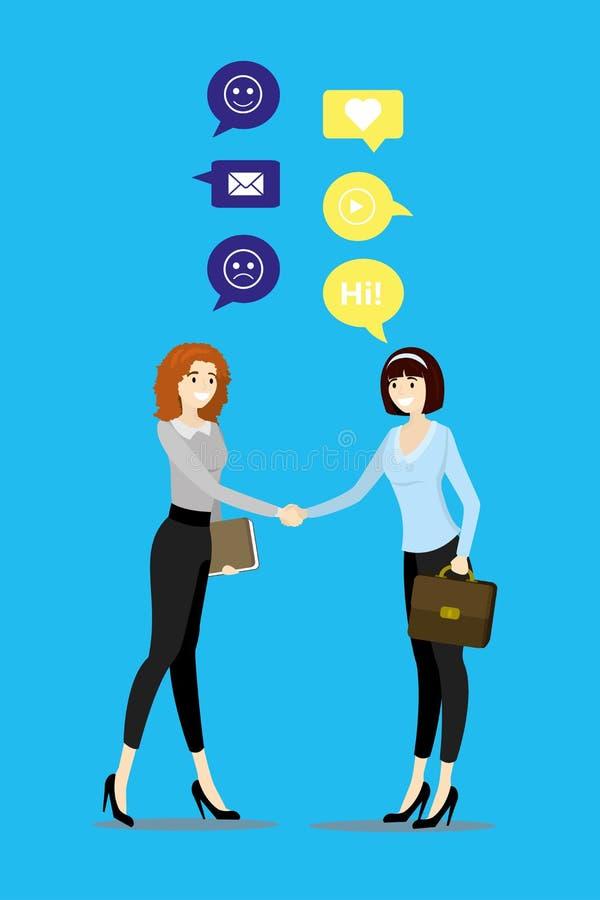 Affärskvinnor som skakar händer och samtal stock illustrationer