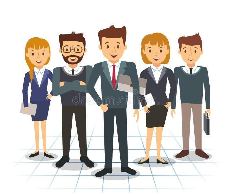 Affärslag av anställda och framstickandevektorn royaltyfri illustrationer