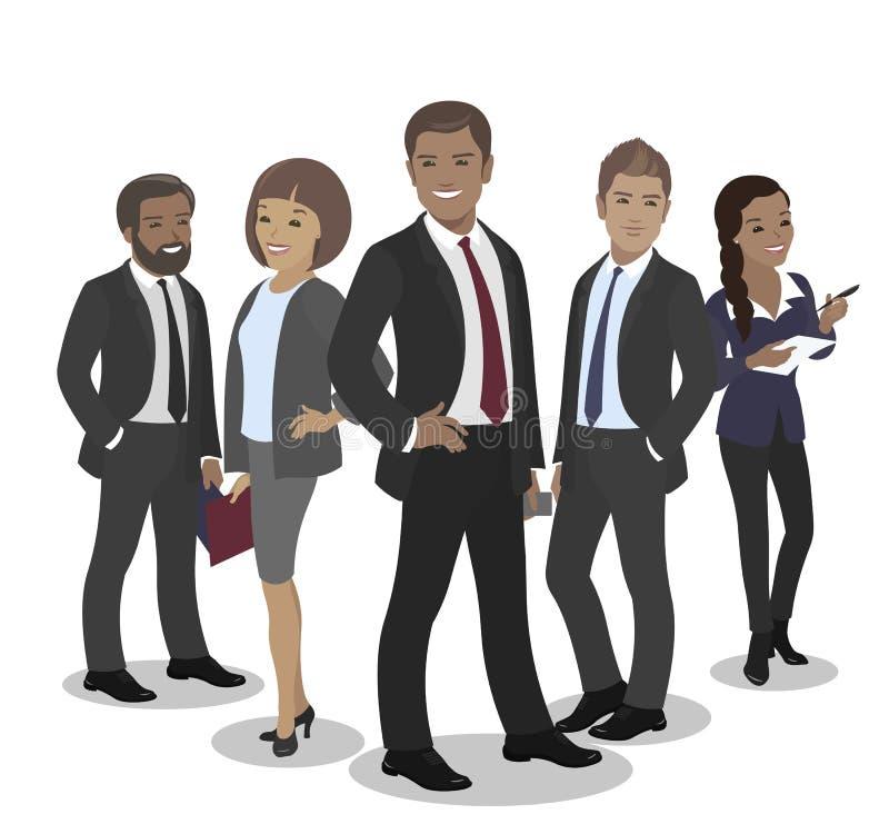Affärslag av anställda och framstickandevektorn vektor illustrationer