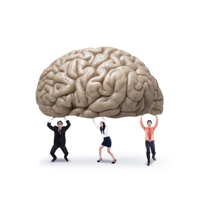 Affärslag som rymmer en hjärna arkivfoto