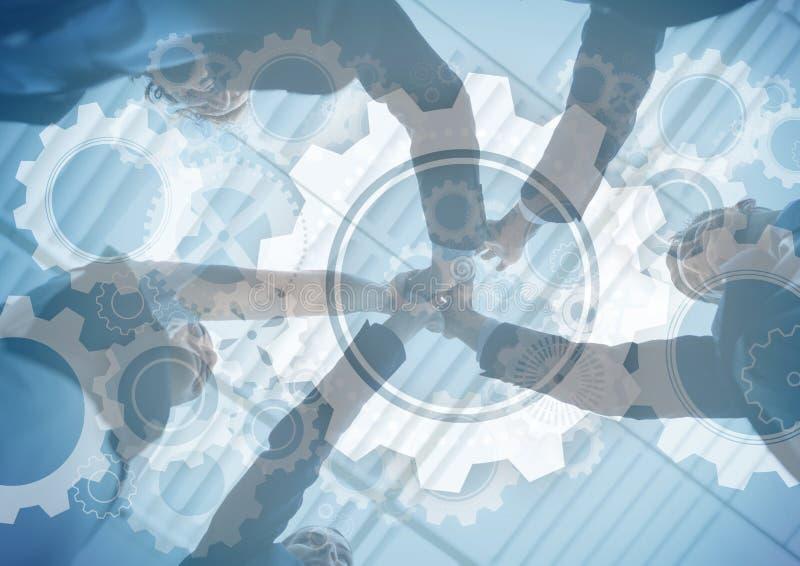 Affärslag som sätter händer samman med den grafiska samkopieringen för kugghjul stock illustrationer