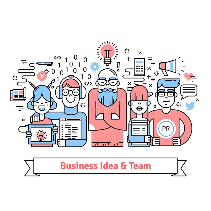 Affärslag som samlas runt om ledare med idé vektor illustrationer