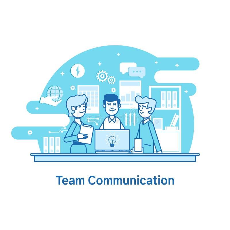 Affärslag, teamworksamarbete Plan linje vektorsymbolsbegrepp stock illustrationer