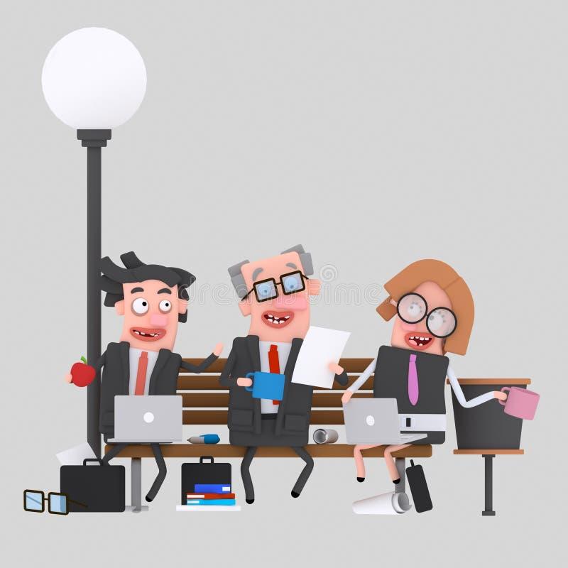 Affärslagarbete som har lunch på en parkerabänk 3d royaltyfri illustrationer