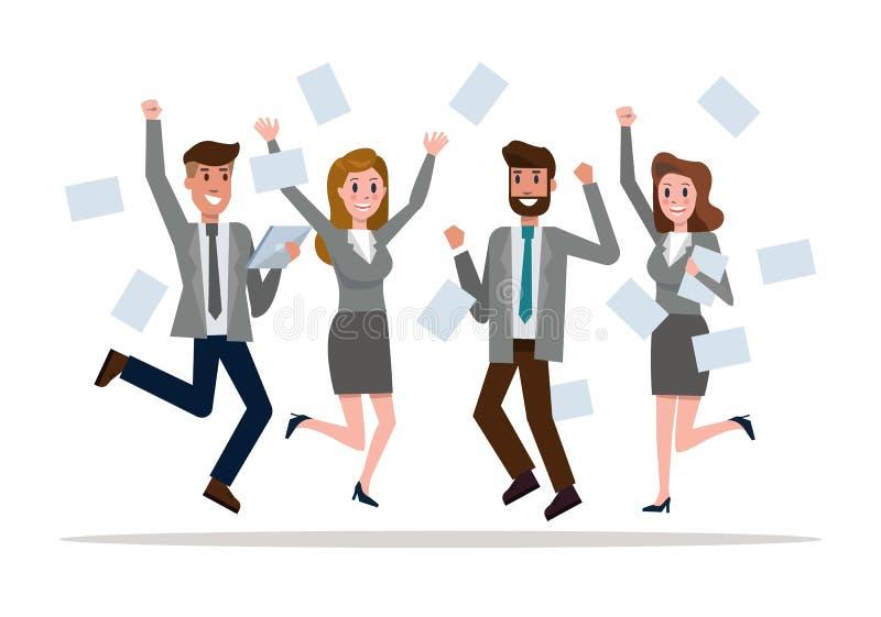 Affärslagbanhoppning som firar framgång Seger- och teamworkbegrepp stock illustrationer