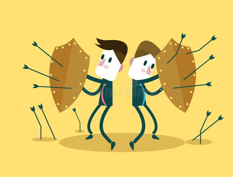 Affärslaget som använder sköldar för självförsvarpilar, anfaller Affärsriskinvestering och teamworkbegrepp royaltyfri illustrationer