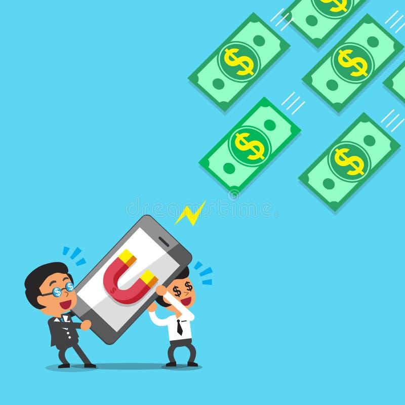 Affärslaget som använder smartphonen med magnetsymbolen, tilldrar pengar stock illustrationer
