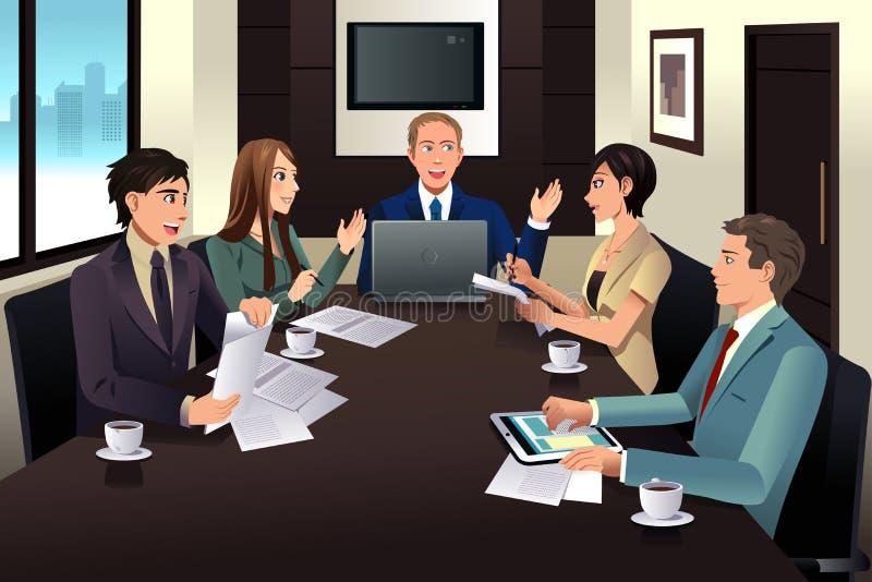 Affärslagmöte i ett modernt kontor stock illustrationer