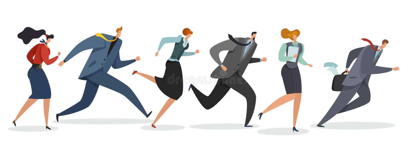 Affärslagspring Personer som vinkar flaggan och joggar, följer ledaren till den yrkesmässiga triumfen som segrar illustrationen vektor illustrationer
