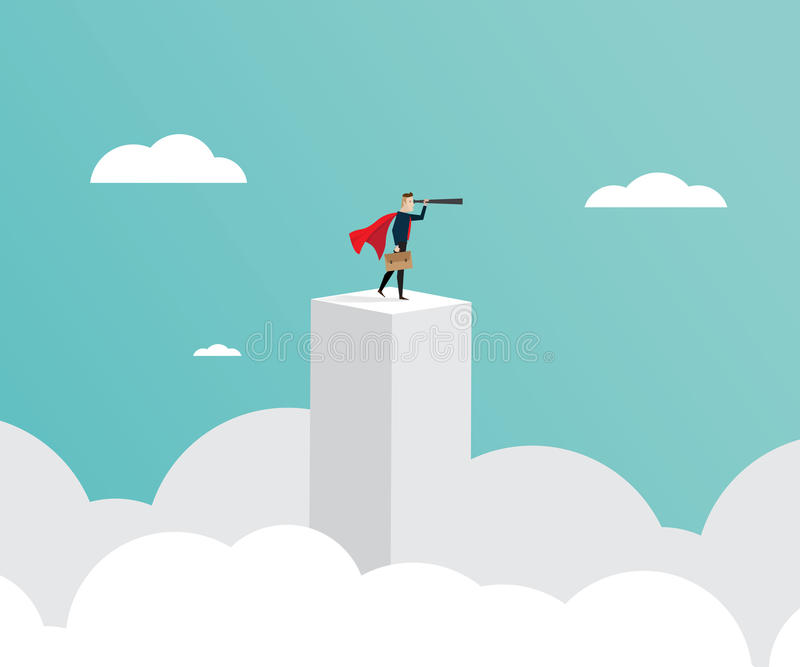 Affärsledarskapbegrepp, affärsmananseende på pelare med stock illustrationer