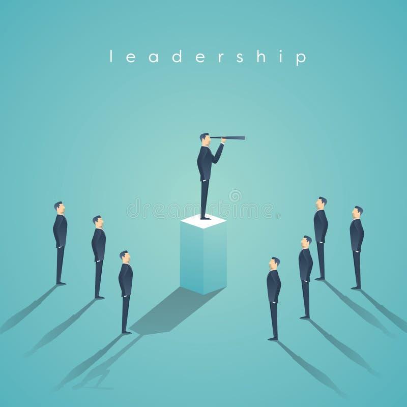 Affärsledarskapbegrepp med affärsmananseende på pelare Chef tapet för vektor för utövande position royaltyfri illustrationer